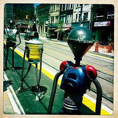 Robots lineup on the new bike ramps unique to Roncesvalles