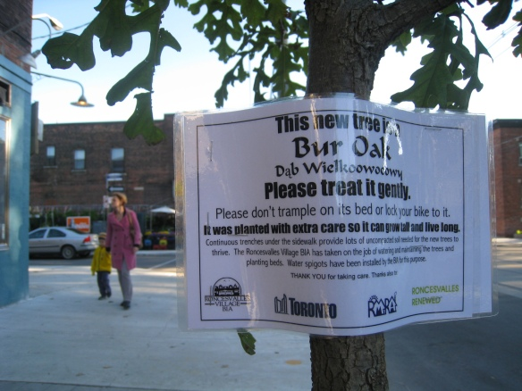 Sign posted on tree identifies species and elicits gentle care