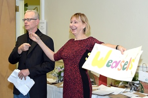 High Park Library's Head Librarian, Brian Bertrand and Reverend Anne Hines share the fun as Masters of Ceremony.